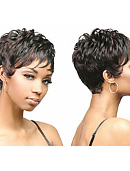 Chic Pixie Cut Synthetic African American Wigs for Women Short Wavy Hair Full Wigs with Bangs