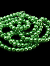 Beadia 3 Str(approx 430pcs) Glass Beads 6mm Round Imitation Pearl Beads Green Color DIY Spacer Loose Beads