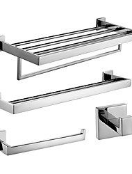 Polish Stainless Steel Bath Accessories Set with Double Towel Bar Towel Ring Towel Shelf with Bar and Robe Hook