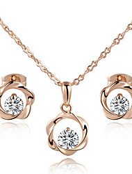 T&C Women's Concise 18k Rose Gold Plated Clear Simulated Diamond Crystal Wind Wheel Pendant Necklace Earrings Set
