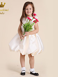 Girl White Satin Camellia Camellia Dress Embellished Purple Tie