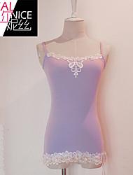 Women's Lace Black/Purple Vest , Off Shoulder Sleeveless Lace