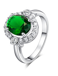 Women's Elegant Platinum Electroplate Inlay Zircon Ring