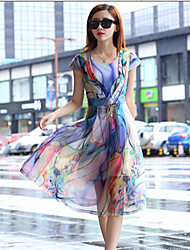 Women's Casual Micro-elastic Short Sleeve Midi Dress (Chiffon)