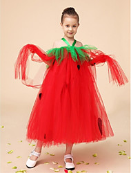 Flower Girl Dress Tea-length Tulle A-line Sleeveless Dress