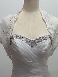 boda envuelve boleros de manga corta de tul / lentejuelas bolero encogimiento blanco