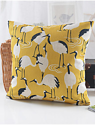 Country Style Crane Pattern Cotton/Linen Decorative Pillow Cover
