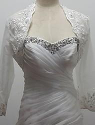 boda envuelve boleros 3 tul manga / 4-length / lentejuelas bolero encogimiento blanco