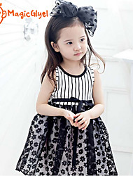 Girls' Dresses Sleeveless Stripe Top + Flower Mesh Skirt Design One Piece Dresses (Cotton + Mesh)