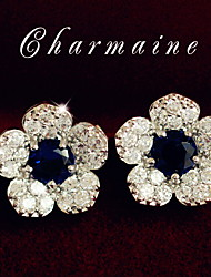 White Flowers Blue Crystal Full Drill Delicate Stud Earrings