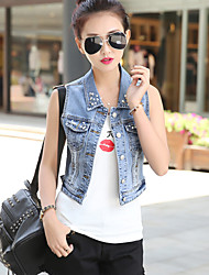 Women's Casual/Cute Beads Sleeveless Short Vest Demin Jacket (Cotton/Denim)