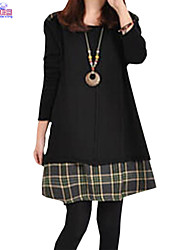 Lady Fall Women Cusual Loose Round Neck False Two Joint Plaid Dress Clothes