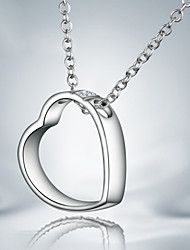 925 Silver Hollow Out Heart Pendant Necklaces Party/Daily 1pc