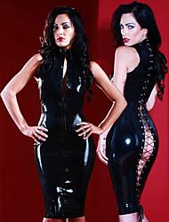 Seductive Bandage Black Sleeveless Sexy Uniforms