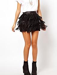 Jupes Aux femmes Mini Sexy/Décontracté/Soirée/Grandes Tailles Polyuréthane Micro-élastique