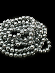 Beadia 3 Str(approx 430pcs) Glass Beads 6mm Round Imitation Pearl Beads Gray Color DIY Spacer Loose Beads