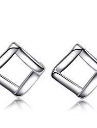Jazlyn autentico platinato argento quadrati creativo orecchini cava 925