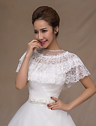 Wedding shawl Wedding  Wraps Capelets Sleeveless Lace Ivory/Ruby