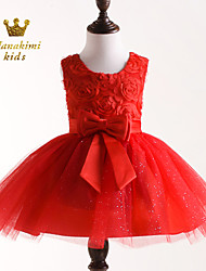 Girl Red Belt Embellished Tie Ceremony Party Dress