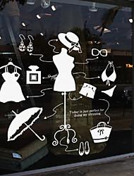 adesivos de parede decalques de parede, manequins de loja de roupas em pvc adesivos de parede das mulheres modernas