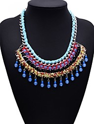 Fashion Jewelry Big Name Blue Pearl Beads Tassel Necklace
