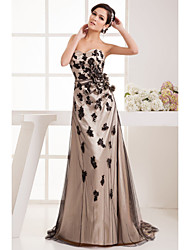 Formal Evening Dress - Black Petite A-line Halter Knee-length / Court Train Tulle