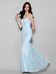 Homecoming Floor-length Lace Bridesmaid Dress - Light Sky Blue Trumpet/Mermaid Sweetheart