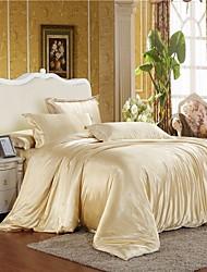 Mingjie camelo congelado seda gelo lixar conjuntos de cama 4pcs define capa de edredão queen size e king size