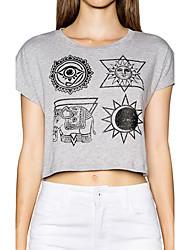 Damen Druck Einfach Lässig/Alltäglich T-shirt Sommer Kurzarm Grau Baumwolle Dünn