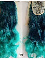 "22""Fashion Synthetic Ponytails Cheap Price Long Clip In Hair Body Wave Curly Extensions Green Ombre Colored"