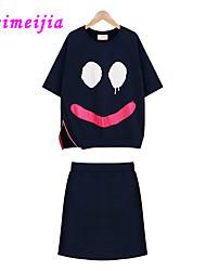 Women's Casual/Cute Summer Medium Short Sleeve Suits (Cotton)