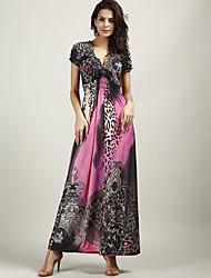 Women's Deep V-neck Leopard Print High-waist Beach Maxi Dress