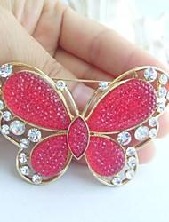 Women Accessories Gold-tone Red Rhinestone Crystal Brooch Art Deco Butterfly Brooch Bouquet Women Jewelry