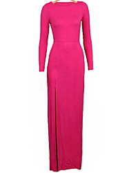Women's Sexy Bodycon Party Plus Sizes Micro Elastic Long Sleeve Maxi Dress (Satin)