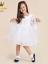 Girl White Lace Embroidered By Hand-made Court Dress