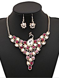 Vintage Style Zinc Alloy Rhinestone Peacock Pattern Jewelery Set(Earrings & Necklace)