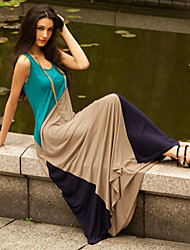 Women's Patchwork/Color Block Multi-color Dress , Sexy/Beach/Maxi U Neck Sleeveless