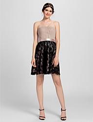 Short/Mini Lace Bridesmaid Dress - Multi-color Petite Sheath/Column Strapless