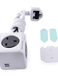 Allocacoc 7400 cube / ukeupc UK Plug étendue 4 prises + prise USB double - gris (150cm)