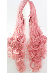 Cos Anime Bright Colored Wigs Long Smoke Pink Curly  Hair Wig 80 cm