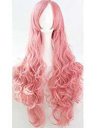 cos perruques colorées animé vives longue fumée rose cheveux bouclés perruque 80 cm