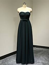 Formal Evening Dress - Dark Navy Plus Sizes / Petite A-line Sweetheart Floor-length Satin