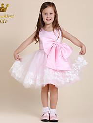 Girl Pink Grenadine Satin With Flower Holiday Dress