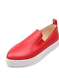 Zapatos de mujer - Tacón Bajo - Comfort / Puntiagudos - Mocasines - Oficina y Trabajo / Vestido / Casual - Semicuero -Negro / Rojo /