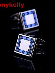 Toonykelly Fashion Silver Plated Blue CZ Zircon Crystal Men Handsome Shirt Cufflink Button(1 Pair)