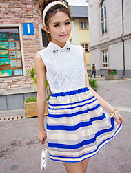 Women's Patchwork Blue/Black/Yellow Dress , Casual Stand Sleeveless Lace