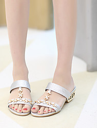 Women's Shoes Synthetic Chunky Heel Peep Toe Sandals Dress/Casual Blue/Silver/Gold