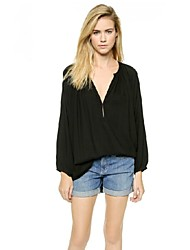 New Fashion Office Brief Loose Pleated V Neck Long Batwing Sleeve Women Black Sexy Chiffon Blouses