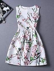 Robes ( Polyester ) Vintage/Sexy/Imprimé Rond à Sans manche pour Femme