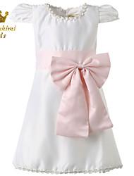 Girl White Satin Soutache Embellished Tie Wedding Dress